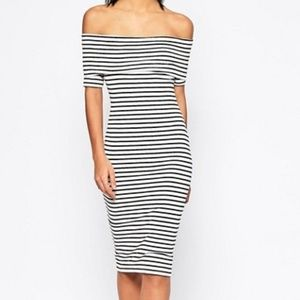 ASOS Midi Bardot Off Shoulder Dress